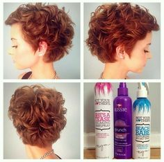 """How to style the Pixie cut? Despite what we think of short cuts , it is possible to play with his hair and to style his Pixie cut as he pleases. For a hairstyle with a """"so chic"""" and pointed… Continue Reading → Haircuts For Curly Hair, Curly Hair Cuts, Hairstyles Haircuts, Wavy Hair, Short Hair Cuts, Pixie Haircuts, Curly Short, Short Pixie, Wavy Pixie"""