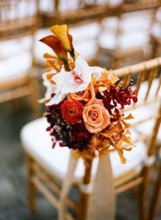 Aisle Flower Arrangement | Fall Wedding Ideas for The Ultimate Backyard Barnhouse Country Wedding