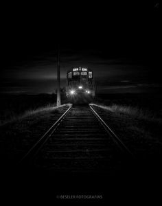 ☾ Midnight Dreams ☽ dreamy dramatic black and white photography - night train