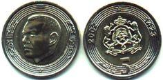 """Dirham marroquino (1960-em uso) (x) 5 dirhams (2002) O: efígie do rei Mohammed IV (1830-1873, rei de Marrocos entre 1822-1859), em árabe seu nomee """"Reino de Marrocos""""/R: brasão de armas marroquino (composto por um pentagrama perante a representação das Cordilheiras do Atlas, um Sol nascente e uma coroa real, dois leões segurando o escudo e abaixo a inscrição do alcorão em árabe """"Se acudires a Deus, ele acudir-te-á"""", valor e em árabe """"reino do Marrocos""""), valor e data como no calendário…"""