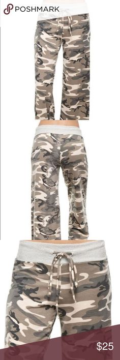 Only Large left! Brand new! Super comfortable camouflage lounge pants with tie detail at waist. Sits lower on hips. Brand new from my boutique. Last two pics are of actual pants in stock to show the color. Pants Track Pants & Joggers