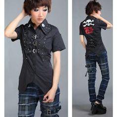Men Women Punk Rock Goth Gothic Emo Dress Skull Shirts Blouses Page Five - Liquiwork