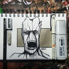 """Here's a great #penandink #drawing by Mark Klein (@officialartmark) of Groot of Guardians of the Galaxy fame, drawn in Mark's Airship #AlphaSketchWire sketchbook. The caption that Mark posted with this illustration was just, """"We Are Groot!"""" which goes really well with the urgent expression on Groot's face. He has to convince someone (probably Rocket Raccoon) that they are in the fight together... so he exclaims in his woody, resonating bass tone of a voice, """"We are Groot!""""... Who WOULDN'T…"""