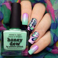 piCture pOlish 'Honeydew, Dream & Violet Femme' Marble nails by Nina! Shop on-line: www.picturepolish.com.au
