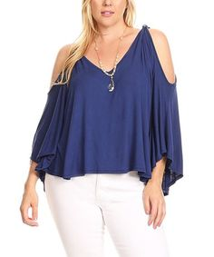 Look what I found on #zulily! Blue Cutout Bell-Sleeve Top - Plus #zulilyfinds