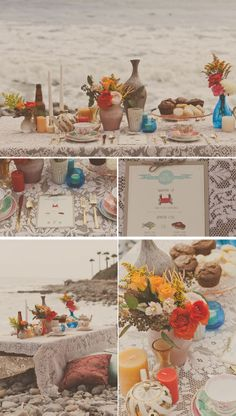 Photography: Yuna Leonard // Hair & makeup: Evelyn Sanabria // Paper goods: Wide Eyes Design // Florals: The Bee and the Bobbin // Clothing & accessories: Erica Elizabeth Designs // Tea party rentals: Verity Jane Vintage // Location: Royal Palms State Beach // Design: Gia Zopatti