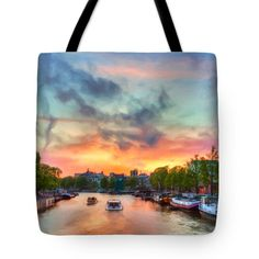 Tote Bags - Amsterdam Sunset Tote Bag by Nadia Sanowar