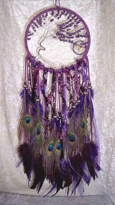 Amethyst Tree Of Life Peacock Feather Dreamcatcher Dreams Catcher, Sun Catcher, Los Dreamcatchers, Diy And Crafts, Arts And Crafts, All Things Purple, Shades Of Purple, Tree Of Life, My Favorite Color
