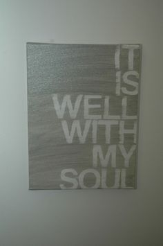 Totally making this. Super easy, get letter decals, canvas, and silver paint. Spell everything out with the letters, then paint the whole canvas silver. Before paint is dry peel decals off carefully, leaving the white letters. I wouldn't recommend letting it dry before taking the letters off, the paint might peel in some areas.