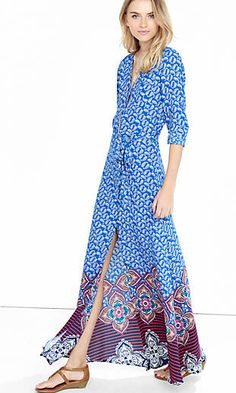 blue paisley maxi shirt dress