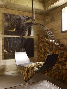 This is a neat swing...I guess this would be a sunroom.  This would be great in a horse barn or just a barn