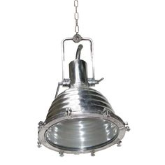 Large Aluminium Cargo Light. This nautical style spun aluminium cargo pendant with glass is reminiscent of a traditional marine light. Also known as a Fishermans pendant. Creating a warm glow when lit, this deck pendant looks fantastic when lit with a squirrel cage bulb. Ideal for industrial and minimalist interiors. This deck pendant can also me manufactured for outdoor use. This ship light comes on a swivel handle with a number of suspension points. http://www.mullanlighting.com/