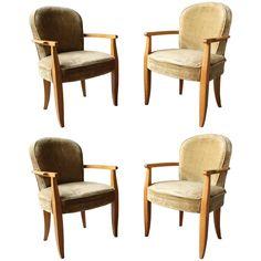 Set of Four Large French Art Deco Bridge Armchairs