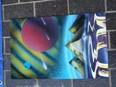 Spray paint artist on site come see #craftfairsnwa
