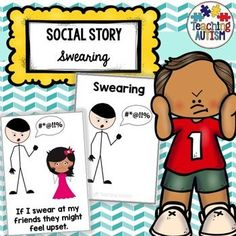 This social story is a great read for students who may need some support with understanding the impact that swearing can have on those around them and strategies for how they can help themselves calm down when they are upset or angry. Autism Teaching, Teaching Social Skills, Autism Classroom, Special Education Classroom, Learning Resources, Classroom Activities, Teaching Kids, Social Stories Autism, Self Contained Classroom