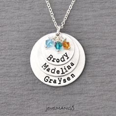 Mother Necklace mom of 3 Personalized necklace mommy necklace 3 kids name birthstones three kids children on Etsy, $38.00