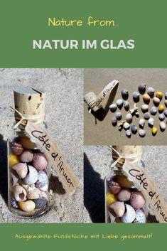Natur im Glas Schönes aus der Natur, mit Liebe gesammelt an ganz bestimmten Orten Frankreichs, sortiert, ausgewählt und in dekorative Gläser abgefüllt. Muscheln und Schnecken als individuelle Geschenke, zum Dekorieren (z.B. als Tischschmuck) oder zum Basteln.