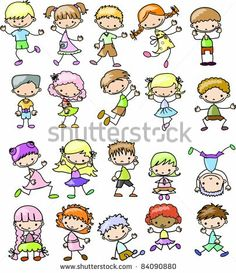 Kinder-Cartoon-Zeichnungen von Virinaflora, via ShutterStock Drawing Cartoon Characters, Cartoon Faces, Cartoon Kids, Character Drawing, Cartoon Drawings, Cartoon Art, Happy Cartoon, Doodle Drawings, Easy Drawings