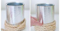 Si las manualidades son lo tuyo seguramente estos recipientes te gustarán. | Ideas casa | Pinterest | Jars, Coffee cans and Metals