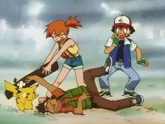 Pikachu, Brock, Misty & Ash Ketchum