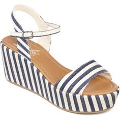 Platform sandals Diba blue and white striped platform sandals. Brand new never worn, perfect condition; tried on a few times but have never been worn and need a new home! Diba Shoes Sandals