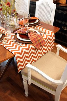 Fall decor with chevron table runner! Love the chevron table runner! The orange would go great in my dining room! Chevron Table Runners, Chevron Tablecloth, Thanksgiving Tablescapes, Thanksgiving Ideas, Thanksgiving Celebration, Thanksgiving Decorations, Boho Home, Fall Table, Deco Table