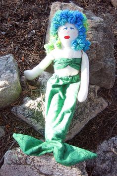 Shades of Green Mermaid Doll by Ravenglass on Etsy, $15.00