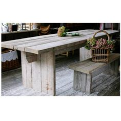italian wooden table from reclaimed pine wood planks