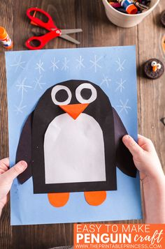 This penguin craft is perfect for the month of January. It works well as an at-home craft, or as part of your winter activities for Kindergarten or first grade. You can even use this as a one of your penguin activities for an arctic animals unit. This is a total DIY craft. All you need is construction paper, scissors, glue, and a white crayon or marker. There's no tracers needed. Students make simple cuts and round corners to create this fun and adorable penguin. Plus it makes a super cute winte