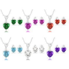 Aquamarine, Amethyst, Emerald, Garnet, White or Pink Sapphire Heart Sterling Silver Pendant and Earrings Set
