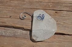 Pretty White Sea Glass Christmas Ornament with Angel Wings Heart