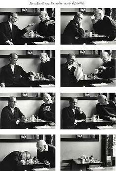 "Duane Michals ""Two Old Men Talking"", Eight gelatin silver prints with hand applied text, 5 x 7 inches (each) Photography Storytelling, Narrative Photography, Art Photography Portrait, History Of Photography, Sequence Photography, Photo Sequence, Sequencing Pictures, Duane Michals, Photo Class"