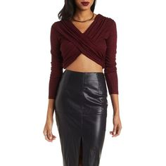 Charlotte Russe Burgundy Long Sleeve Ruched Wrap Crop Top by Charlotte... ($17) ❤ liked on Polyvore featuring tops and burgundy