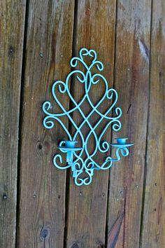Vintage Candelabra /Aqua /Metal Candle Holder /Upcycled /Painted Shabby Chic Decor/Outdoor decor. $29.99, via Etsy.