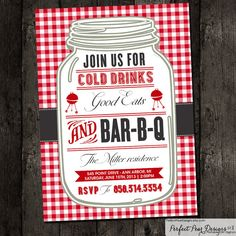 Couples Shower Barbecue Invitation, Barbeque, BBQ, Picnic Summer, Red White Check Gingham Plaid Wedding Bridal (DIY Digital Printable)--for the wedding? Couples Wedding Shower Invitations, Wedding Party Invites, Wedding Couples, Party Invitations, Wedding Ideas, Wedding Parties, Invitations Online, Invitation Ideas, Wedding Stationery