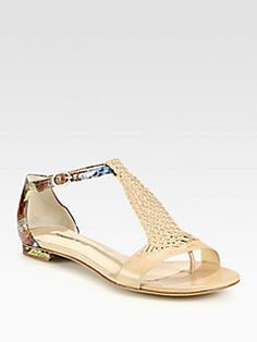 Alexandre Birman - Braided Leather & Python T-Strap Sandals
