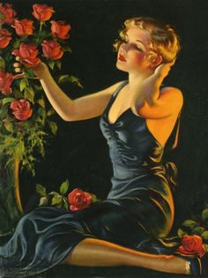 1930's by Bradshaw Crandell. Pretty young woman with red roses