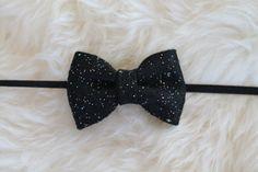 Black Multicolor Glitter Felt Bow on Black Headband by sparkleandspiceshop