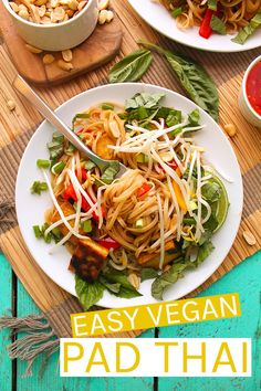 A classic Thai dish, vegan Pad Thai is made with rice noodles, fresh vegetables and herbs, and perfectly crispy tofu for an easy gluten-free meal the whole family will love. Easy Vegan Dinner, Vegetarian Recipes Dinner, Thai Recipes, Vegan Dinners, Raw Food Recipes, Asian Recipes, Healthy Recipes, Weeknight Dinners, Detox Recipes