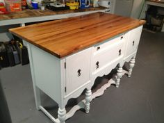 I would love to have this in Maine or in Norfolk.  Great idea turning an old server into a kitchen island.