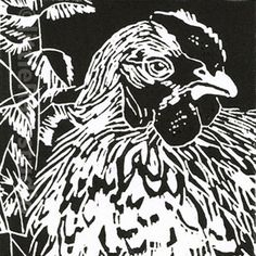 Hen in the Nettle Bed - Linocut by Little Ram Studio