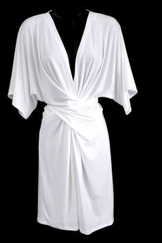 Victoria's Secret Moda International Ivory Faux Wrap Kimono Matte Jersey Dress L #ModaInternational #FauxWrapPlunge #Cocktail