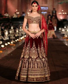 Embroidered bridal lehenga is most selected Indian wedding dress.You can customize it according to your need see different styles of lehenga in pix. Designer Bridal Lehenga, Wedding Lehenga Designs, Latest Bridal Lehenga, Bridal Lehenga Choli, Lehenga Wedding, Rohit Bal, Bollywood Lehenga, Lehenga Saree, Bollywood Bridal