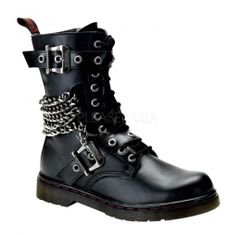 Heavy Metal Calf Boots - Demonia Disorder - 204 by Pleaser