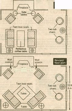 sketches for furniture arrangement in living rooms - Google Search