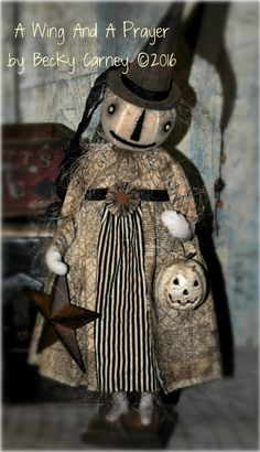 Earlywork- A Wing and a Prayer Primitive Scarecrows, Primitive Pumpkin, Primitive Folk Art, Primitive Crafts, Primitive Autumn, Primitive Christmas, Country Christmas, Christmas Christmas, Halloween Doll