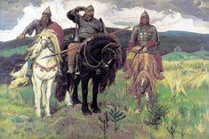 Bogatyrs (1898) by Viktor Vasnetsov. Bogatyrs (left to right): Dobrynya Nikitich, Ilya Muromets, Alyosha Popovich. A bogatyr (Russian: богатырь) is a stock character in medieval East Slavic legends (byliny), akin to a Western European knight-errant.