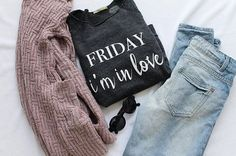 Friday I'm In Love 💜   Statement sweater, graphic Tee, the cure, the cure shirt, music lyrics, outfit flatlays, flatlay, sunglasses, urban outfitters, American eagle, target style