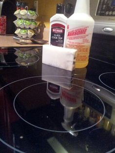 he BEST WAY to clean your glass stove top! All you need is: spray the top with totally awesome (from the dollar tree), then take a mr clean magic eraser and scrub away all the burn marks with ease!! wipe it dry, then use weiman glass stove top cleaner. I've tried all the different ways that have been posted on pinterest, but THIS will leave your stove top SPOTLESS.