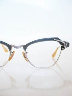433b3ad13f Cat Eye Eyeglasses Vintage 1950s Glasses Dark Dusty Blue Bausch Lomb  Rockabilly Chic Indie Hipster 50s Sunglasses Mid Century Modern